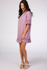 Lavender Ruffle Trim Maternity Dress