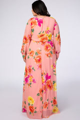 Peach Floral Multi Chiffon Plus Maxi Dress