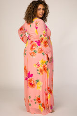 Peach Floral Multi Chiffon Maternity Plus Maxi Dress