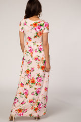 Light Pink Floral Wrap Maxi Dress