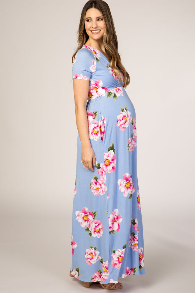 Light Blue Floral Wrap Maternity Maxi Dress