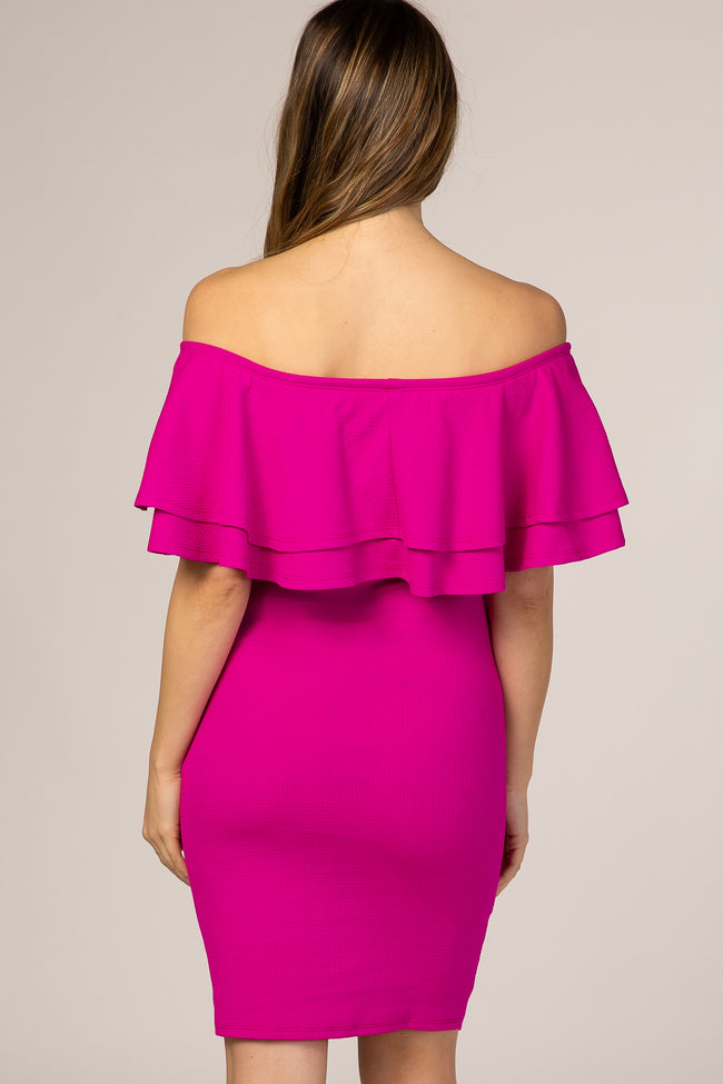 Fuchsia Off Shoulder Fitted Maternity Dress