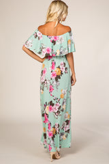 Mint Floral Off Shoulder Maxi Dress