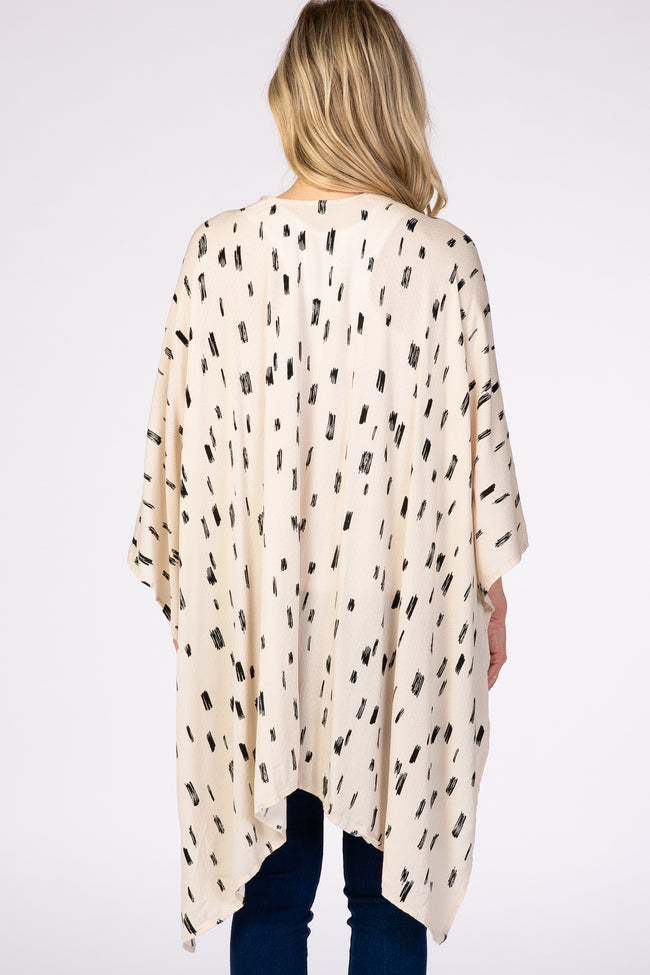 Cream Printed Open Front Hi Low Draped Maternity Kimono