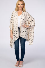 Cream Printed Open Front Hi Low Draped Kimono