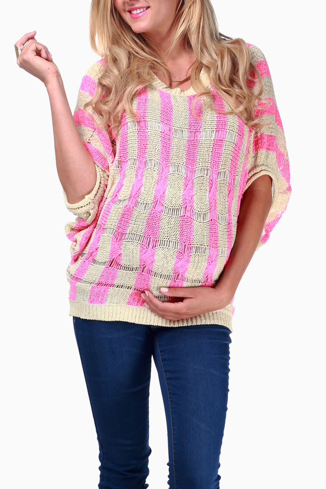 Pink Cream Striped Knit Maternity Sweater