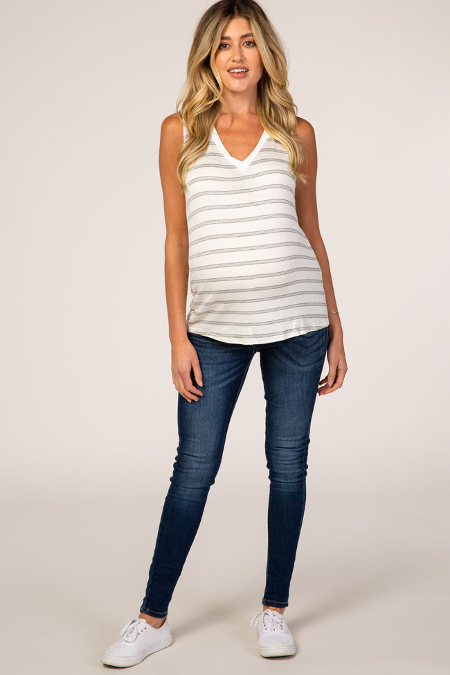 Heather Grey Striped Sleeveless Maternity Top
