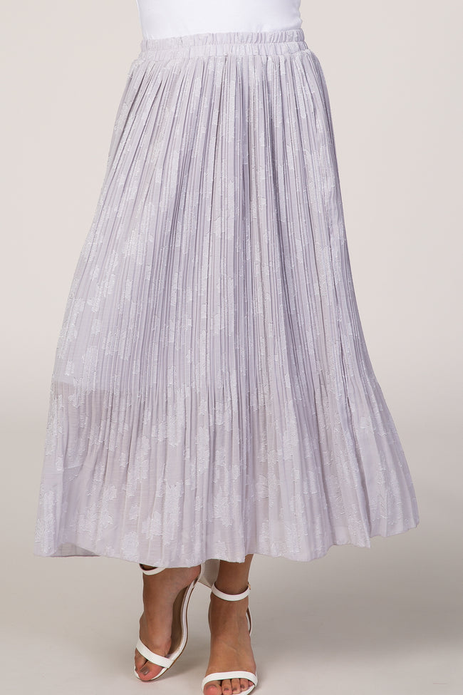 Lavender Floral Pleated Midi Skirt