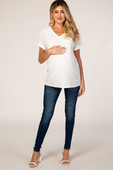 White Swiss Dot Cuffed Short Sleeve Maternity Top