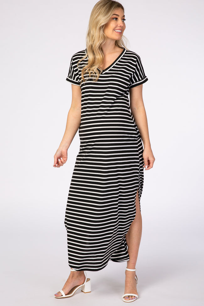 Black Stripe V-Neck Maternity Maxi Dress