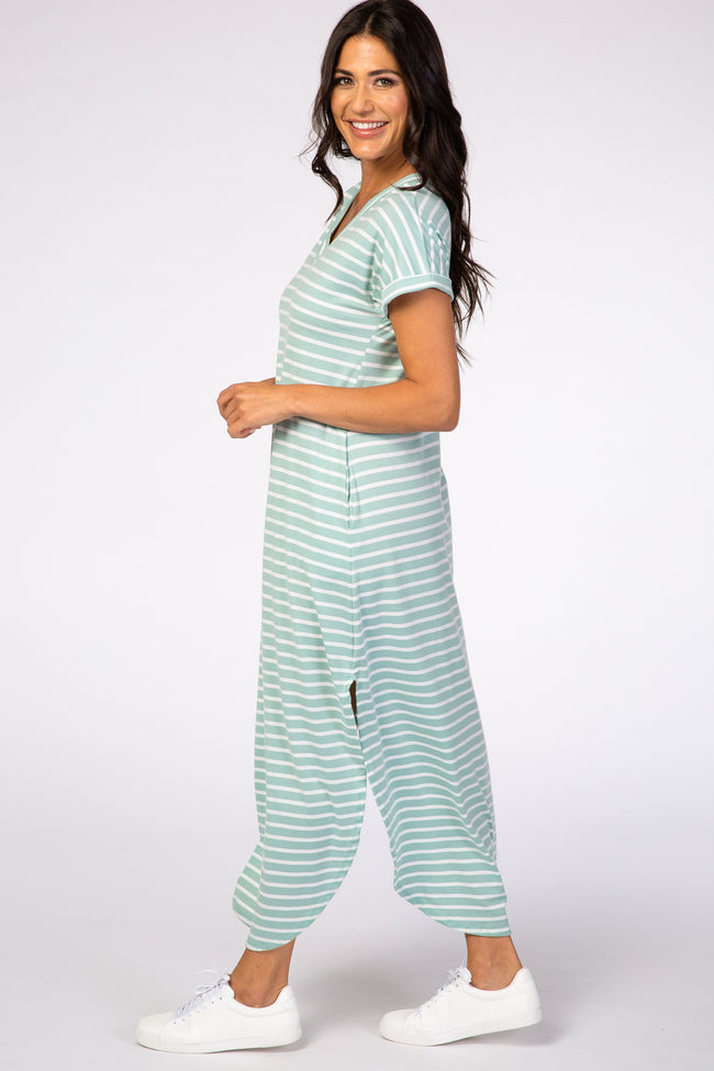 Mint Green Stripe V-Neck Maxi Dress