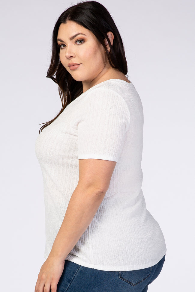 White Ribbed V-Neck Plus Top
