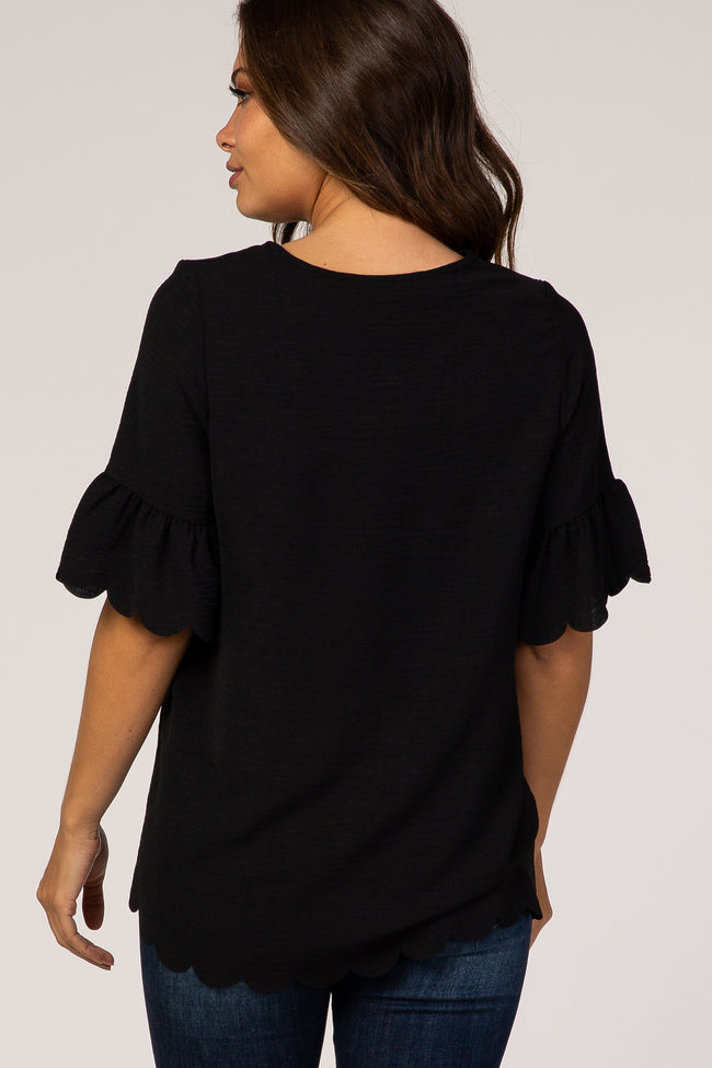 Black Scalloped Short Sleeve Maternity Top