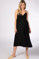 Black Adjustable Strap Sweetheart Neck Maternity Jumpsuit