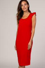 Red Flounce Sleeve Ribbed Dress