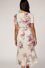Ivory Floral Draped Hi-Low Dress