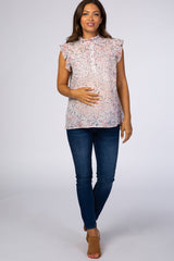 Light Pink Floral Chiffon Ruffle Maternity Blouse