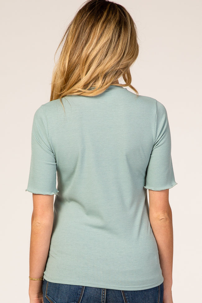 Mint Ribbed Ruffle Trim Maternity Top