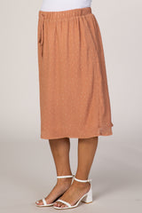 Peach Polka Dot Maternity Midi Skirt