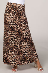 Brown Cheetah Print Maxi Skirt