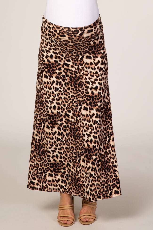Brown Cheetah Print Maternity Maxi Skirt