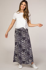 Black Cheetah Print Maternity Maxi Skirt