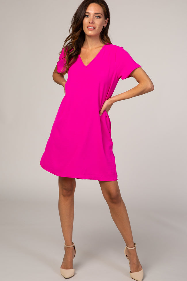 Pink V-Neck Short Sleeve Dress