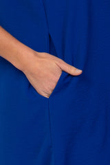 Royal Blue V-Neck Short Sleeve Maternity Dress