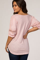 Light Pink Short Sleeve Crochet Insert Maternity Top