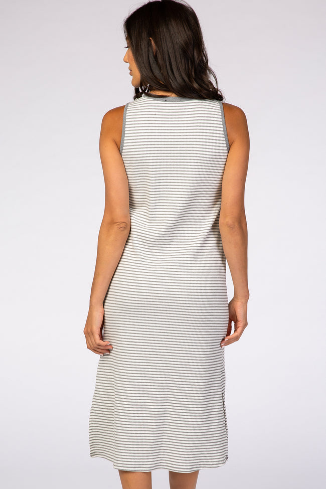 Grey Ribbed Stripe Midi Dress
