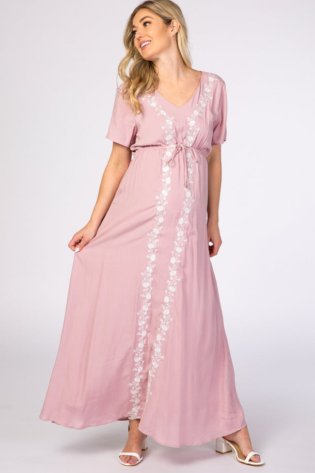 Pink Floral Embroidered Maternity Maxi Dress