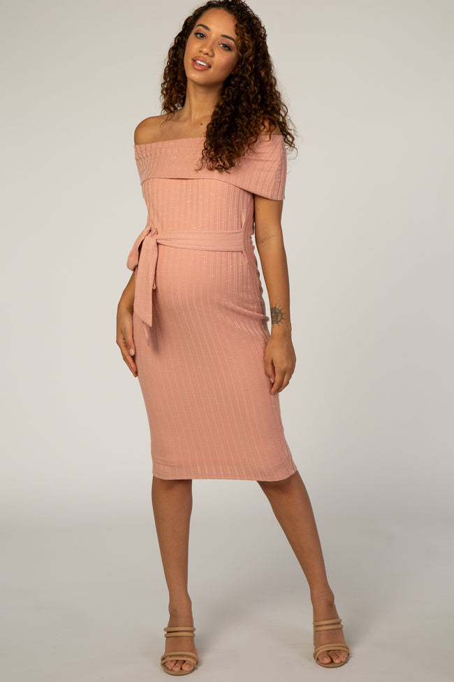 PinkBlush Pink Ribbed Off Shoulder Fitted Maternity Dress