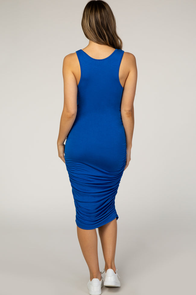 PinkBlush Royal Solid Ruched Fitted Maternity Bodycon Midi Dress