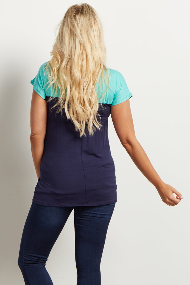 Navy Mint Colorblock Tie Front Maternity Top