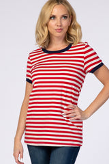 Red Striped Short Sleeve Maternity Top
