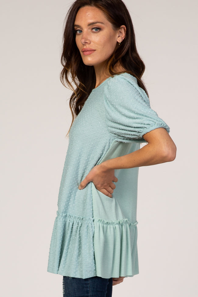 Mint Swiss Dot Puff Sleeve Ruffle Hem Top