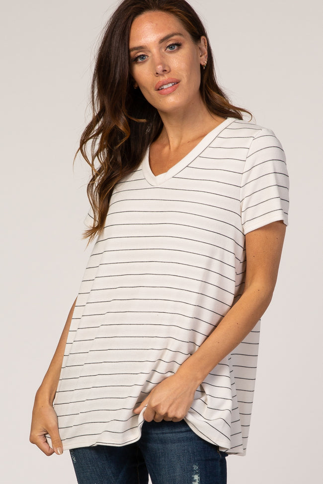 Cream Striped V-Neck Maternity Top