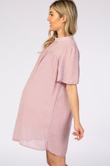 Light Pink Swiss Dot Mock Neck Maternity Dress