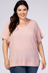 Pink Textured Short Sleeve V-Neck Plus Maternity Top