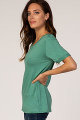 Green V-Neck Cuff Sleeve Top