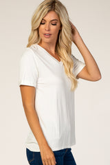 White V-Neck Cuff Sleeve Top