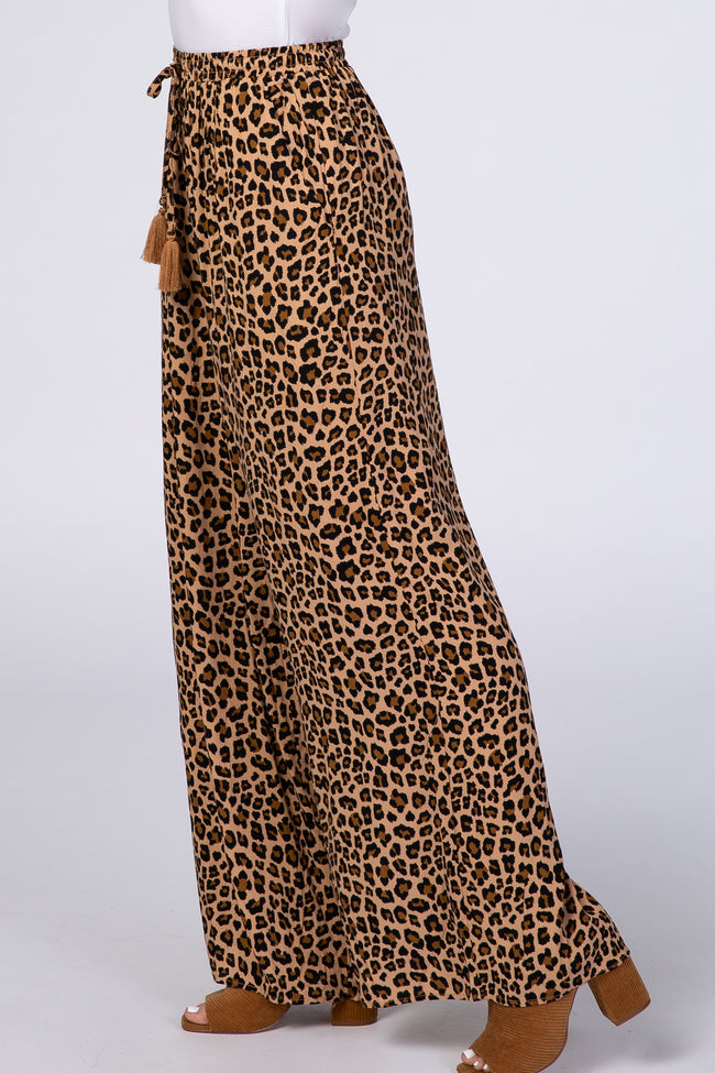 Brown Animal Print Tassel Pants