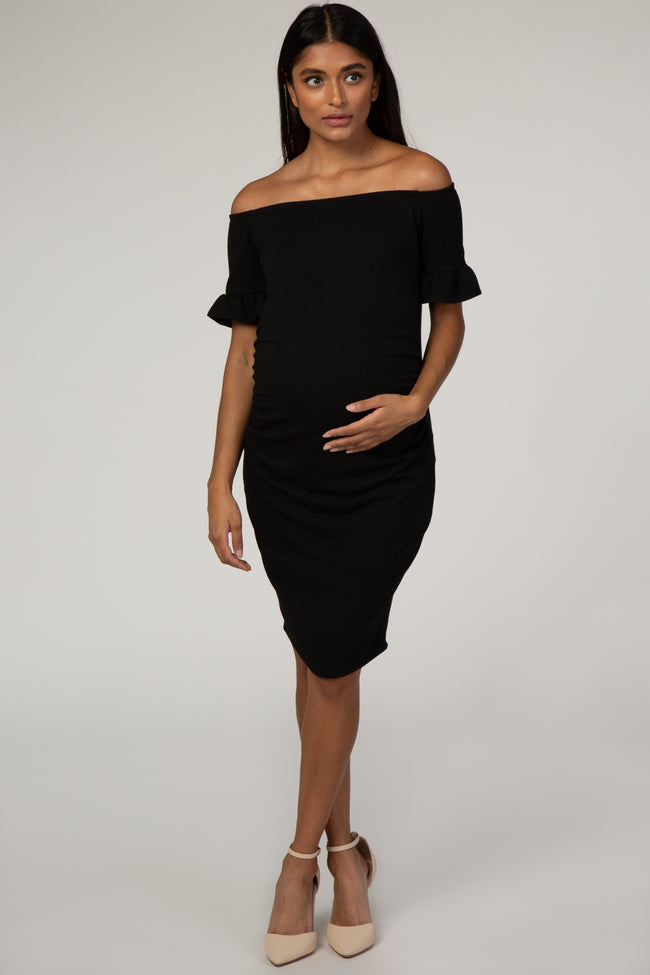 PinkBlush Black Ribbed Ruffle Sleeve Off Shoulder Fitted Maternity Dress