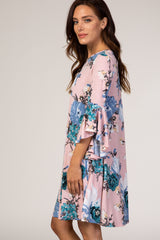 Light Pink Floral 3/4 Bell Sleeve Round Neck Dress