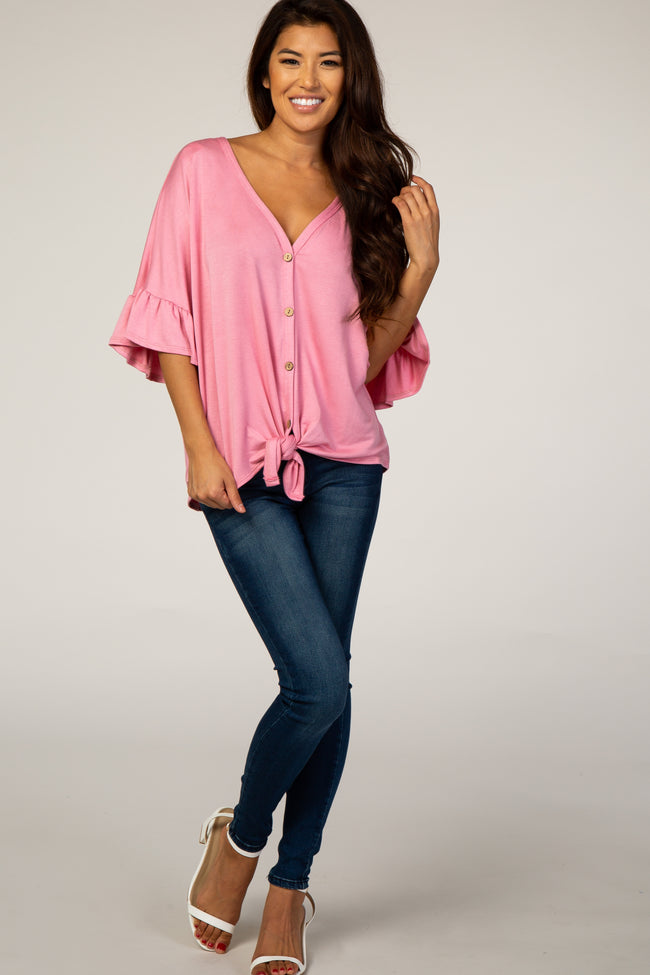 Light Pink V-Neck Button Down Ruffle Sleeve Top