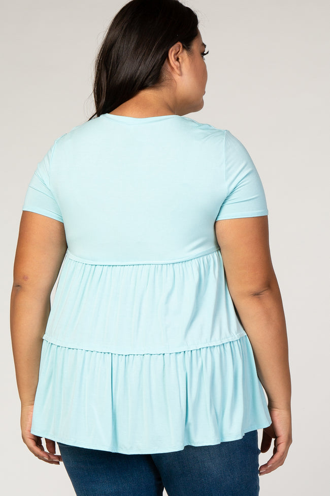 Light Blue Tiered Plus Blouse