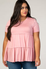 Pink Tiered Plus Blouse