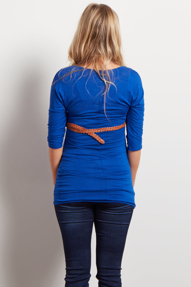 Blue Belted 3/4 Sleeve Maternity Top