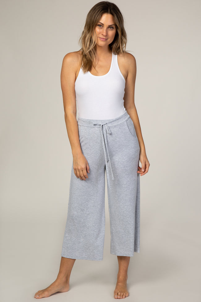 Heather Grey Cropped Drawstring Maternity Pants