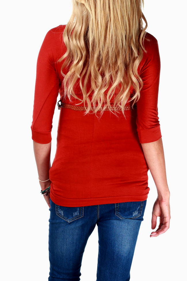 Rust Belted 3/4 Sleeve Maternity Top